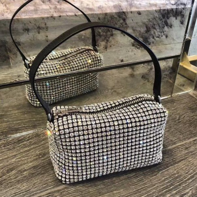 2020 HOT Diamond Hobo Bag Women Handbag Clutch Fashion Vintage Shoudler Handbag Hobos Diamond Messenger Handbag Lady Shiny Hobo