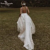 boho wedding dresses for women 2021 spaghetti straps backless a line bohemian bride dress beach bridal gowns vestido de noiva