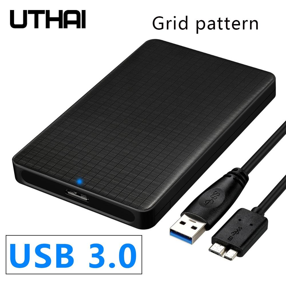 UTHAI G10 USB 3.0 Mobile Hard Disk Box 2.5 Inch SATA Hard Disk Box SSD Sliding Cover Grid Texture Mobile External HDD Enclosure