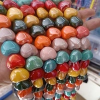 50pcs 15x17x6mm heart shape ceramic beads for jewelry making loose mix color ceramics beads diy bracelet necklace
