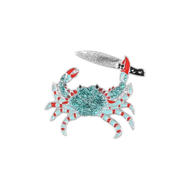 Verde cangrejo esmalte Pin clip cuchillo broche Denim Jeans camisa bolsa Animal acuático Je