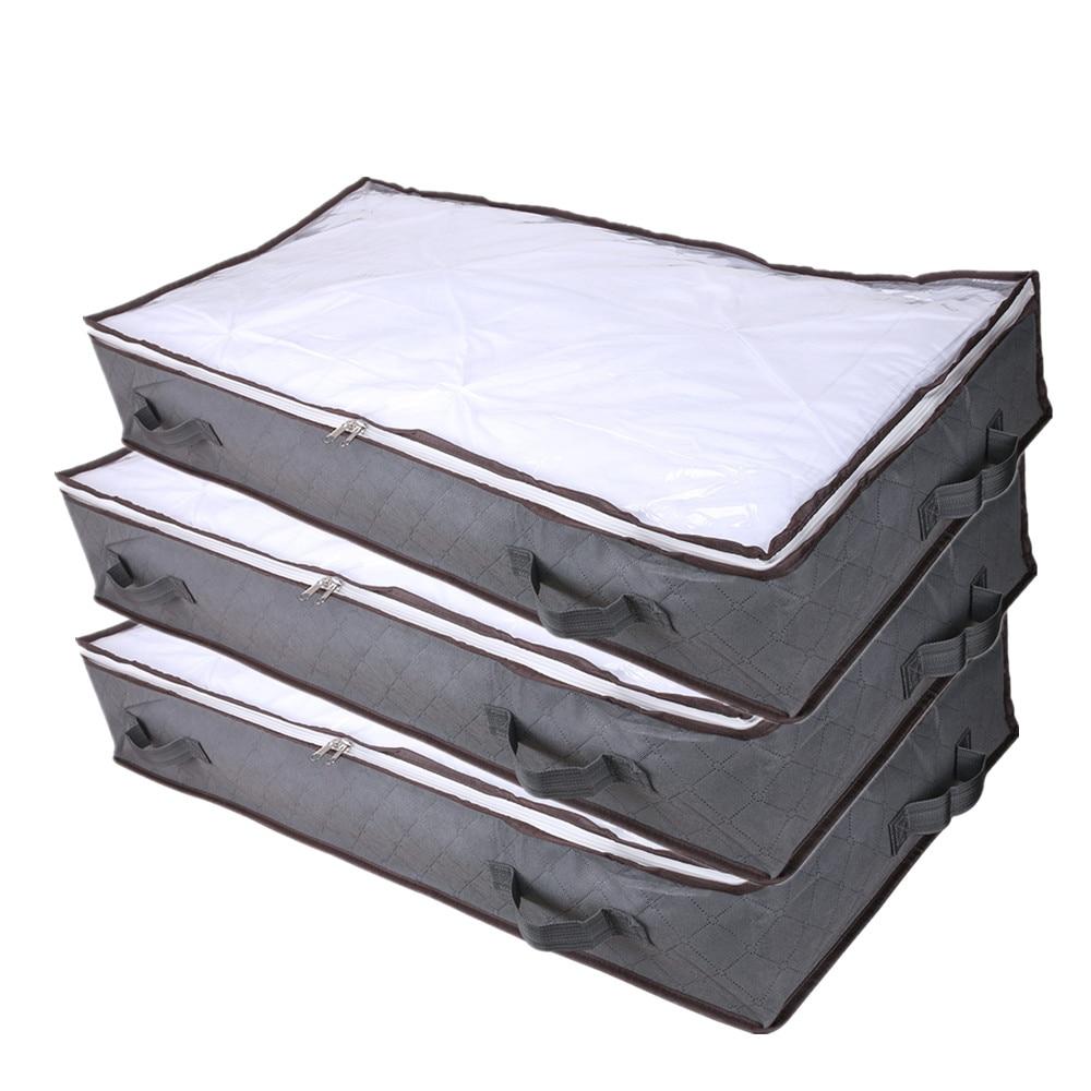 2/3 قطعة تحت السرير غير المنسوجة درج تخزين المنظم صندوق تخزين الملابس البطانيات الأحذية مقسم الحاويات أكياس حامل المنظم