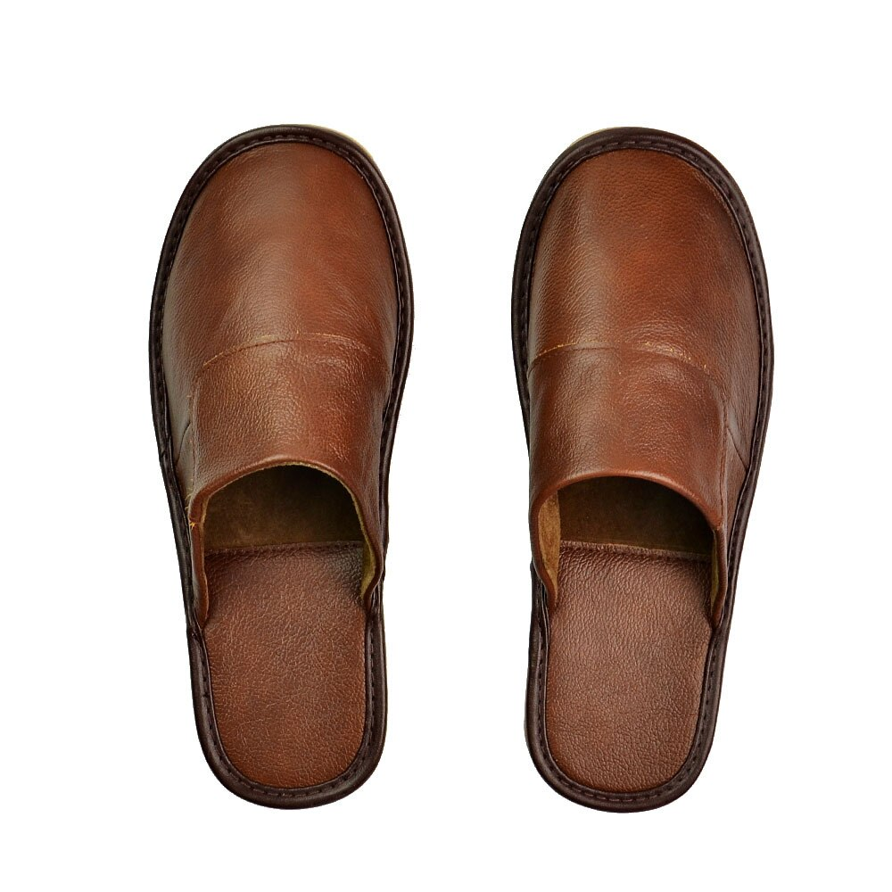 Genuine Cow Leather Slippers Indoor Non-slip Men and Women Home Fashion Casual Single House Shoes TPR Soft Soles Spring Autumn