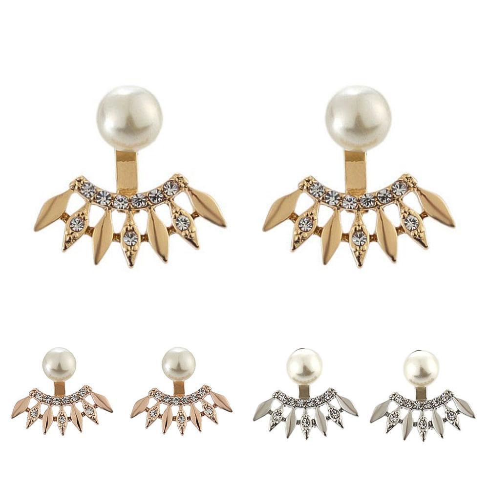 2019 mujeres niñas moda mujer Vintage romántico Diamante de imitación perla forma de abanico chaquetas pendientes joyería regalo fiesta de boda