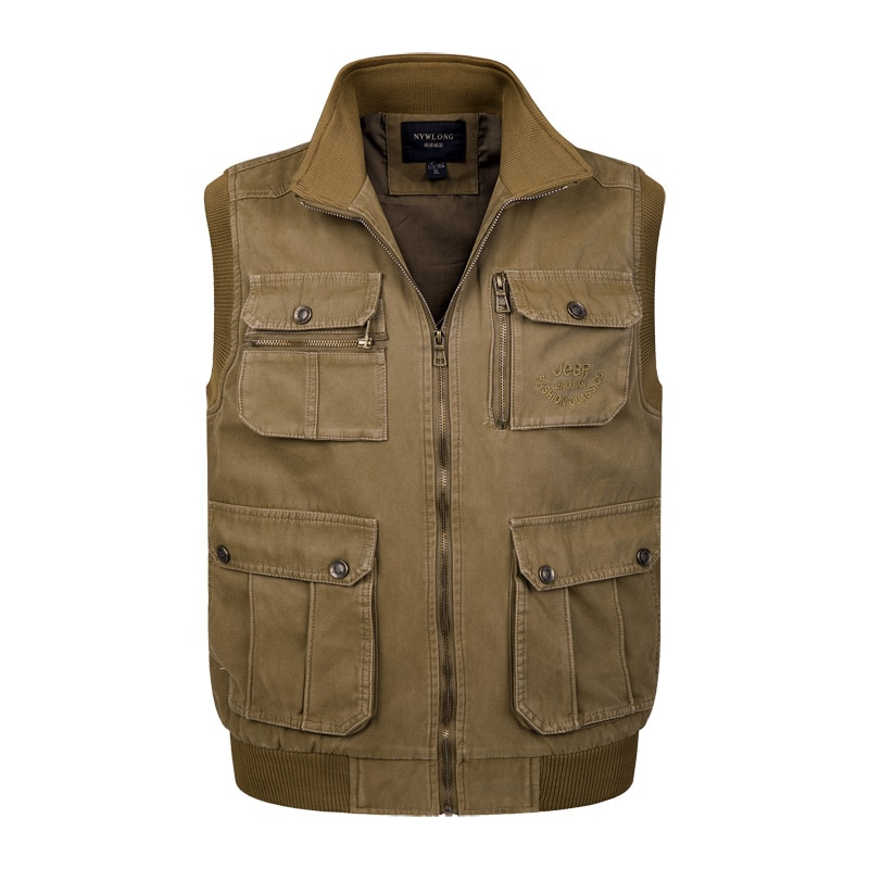 100% Cotton Tactical Waistcoat Men Large Size Xl-4Xl Fit Vest Male High Quality Sleeveless Comfortable Jacket Homme Classic
