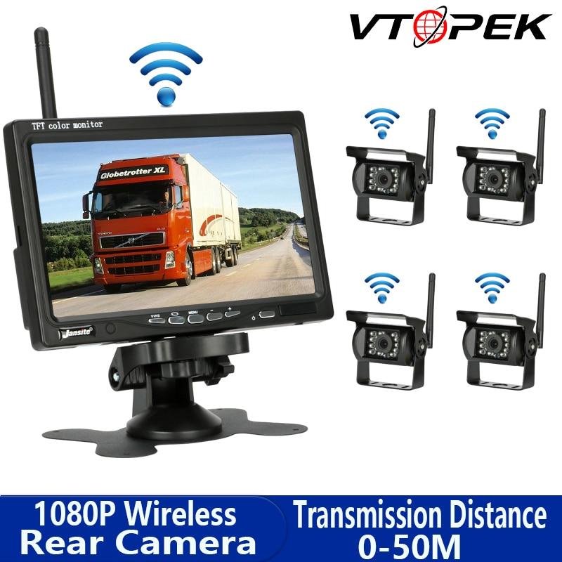 Vtopek 7 Inch Car Monitor Display Wireless Rear View Camera Parking System Reverse Camera Night Vision For Bus Car Vans RV Truck