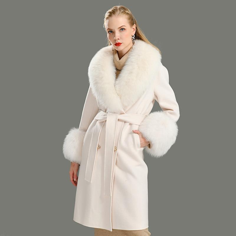 2020 wolle Mantel Frauen Pied De Poule Natürliche Fuchs Pelz Kragen Kaschmir Wolle Blends Lange Oberbekleidung Damen Streetwear