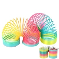 rainbow spring coil toys plastic folding spring coil sports game child funny fashion educational creative toys gift for children