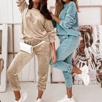 velour two piece sets women tracksuit velvet pant sets woman solid top and pants suit fashion streewear conjuntos de mujer 2021