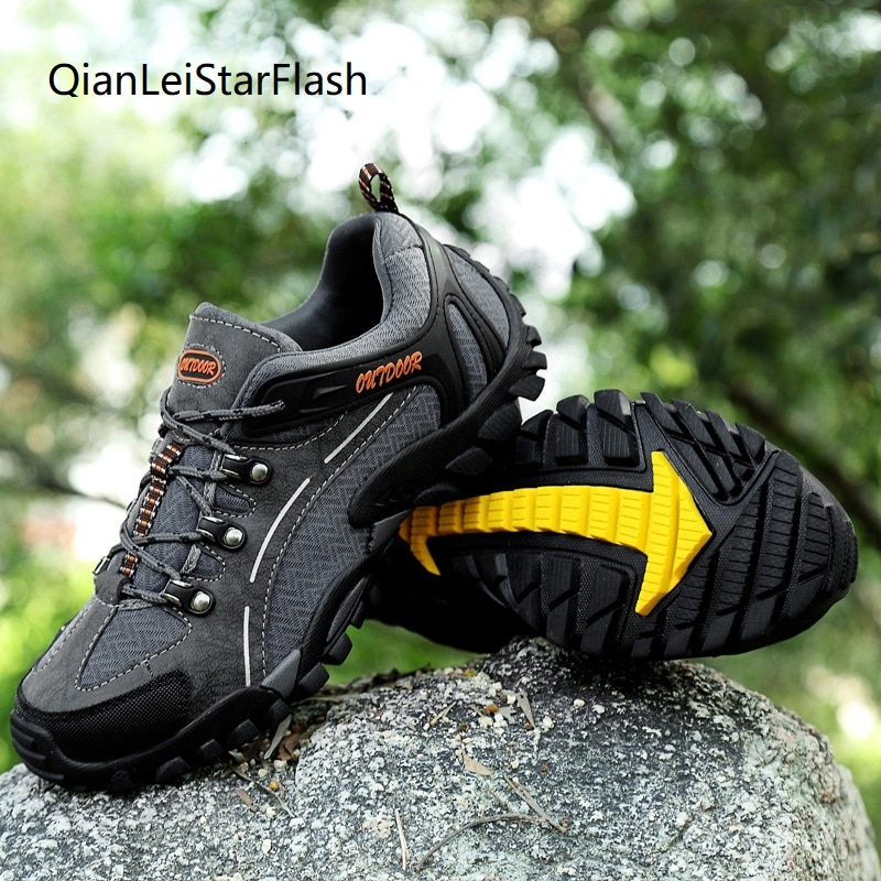 Mens Hiking Shoes Nubuck Climbing Shoes Waterproof Outdoor Trekking Shoes Genuine Leather Mountain Shoes Male Sneaker Size 38-45