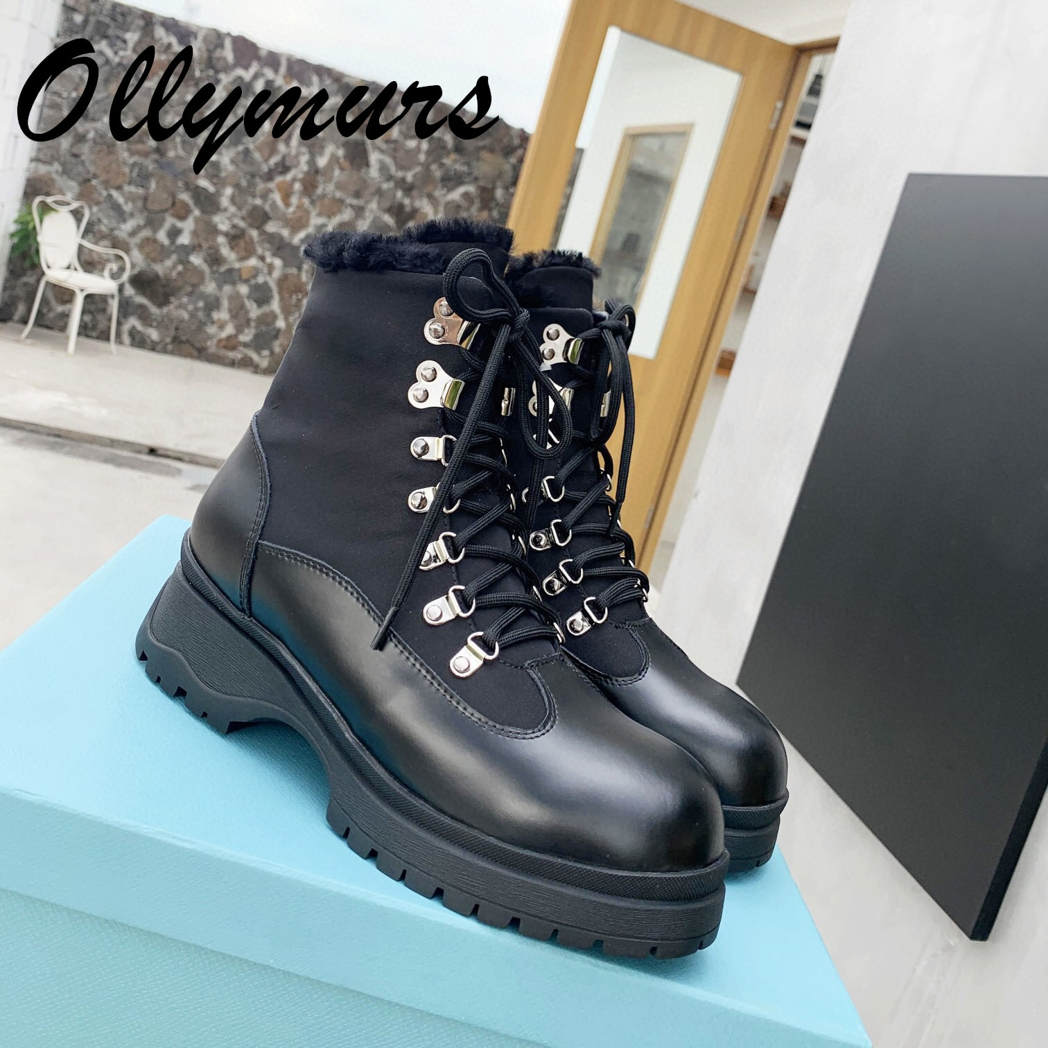 Ollymurs New Genuine Leather Winter Fur Warm Snow Boots Lace Up Platform Luxury Designer Ankle Heel