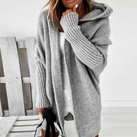 women solid hooded cardigan sweater autumn winter warm long knitted coat female long sleeve knitted cardigan sueters de mujer