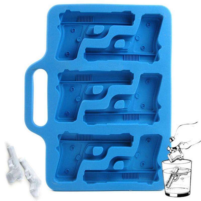 Arma en forma de cubo de hielo molde de hielo de silicona bandeja de fruta hielo cubo de hielo crema de Bar de cocina beber accesorios creativo