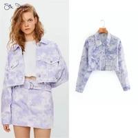 spring tie dye diamonds frayed hem jeans jacket women long sleeve denim jacket crop top girl short coat mujer casual outerwear