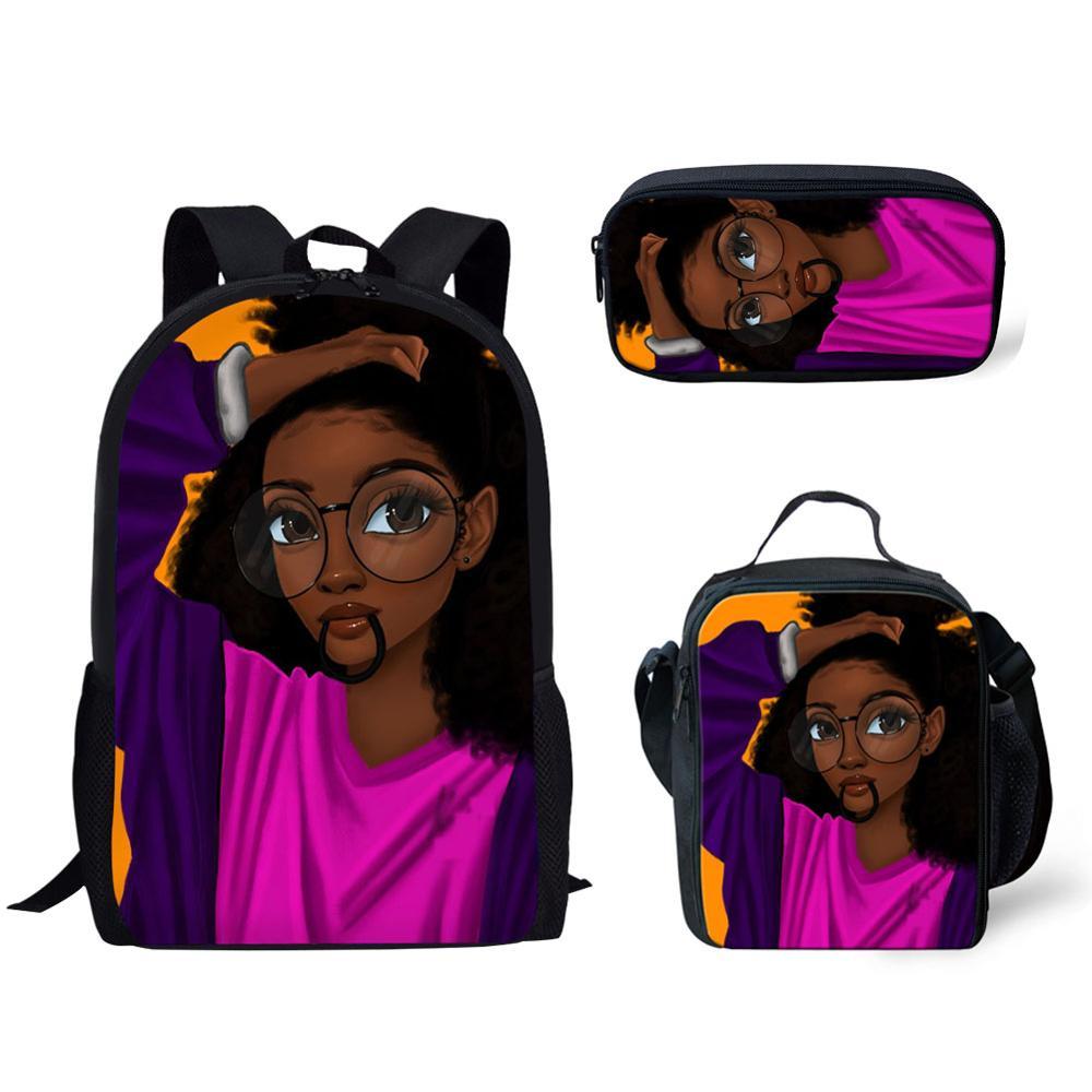 HaoYun African Girls Children Backpacks Pencil Bag 3Pcs/set Portfolio School Bags For Girls Afro Black Arts Bookbags Satchel