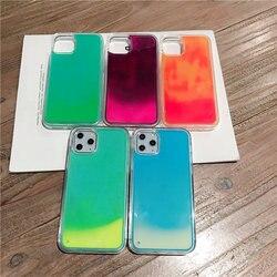 Caixa de areia de néon luminosa para iphone 11 pro xr xs max x 6 s 7 8 plus se 2020 brilho no escuro líquido glitter areia movediça telefone capa