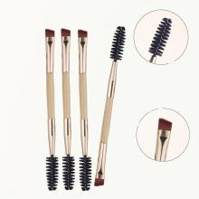 Eyebrow Flat Angled Brushes Bamboo Double Headed Eyebrow Comb Make up tools Brush Makeup Brush Wood