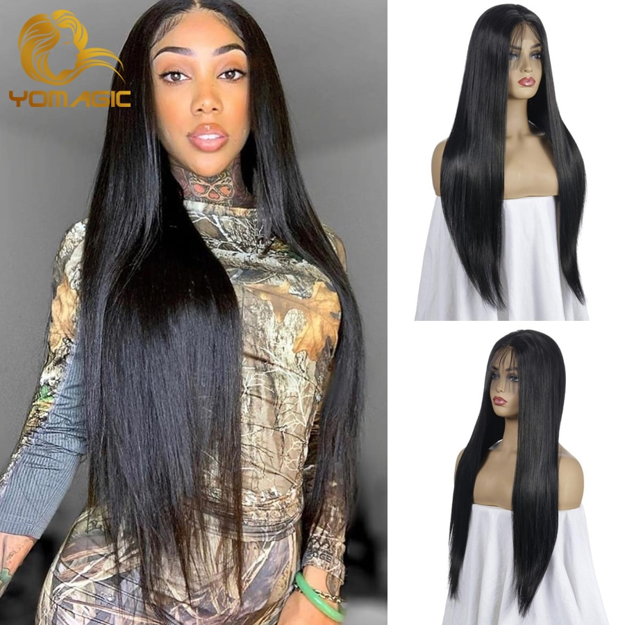 Yomagic Black Color Synthetic Hair Lace Front Wigs with Baby Hair Straight Glueless Lace Wigs with P