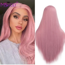 Parrucca lunga diritta rosa parrucche sintetiche per capelli Ombre per donna parrucca Cosplay bionda nera bianca rosa viola blu rossa Msholy