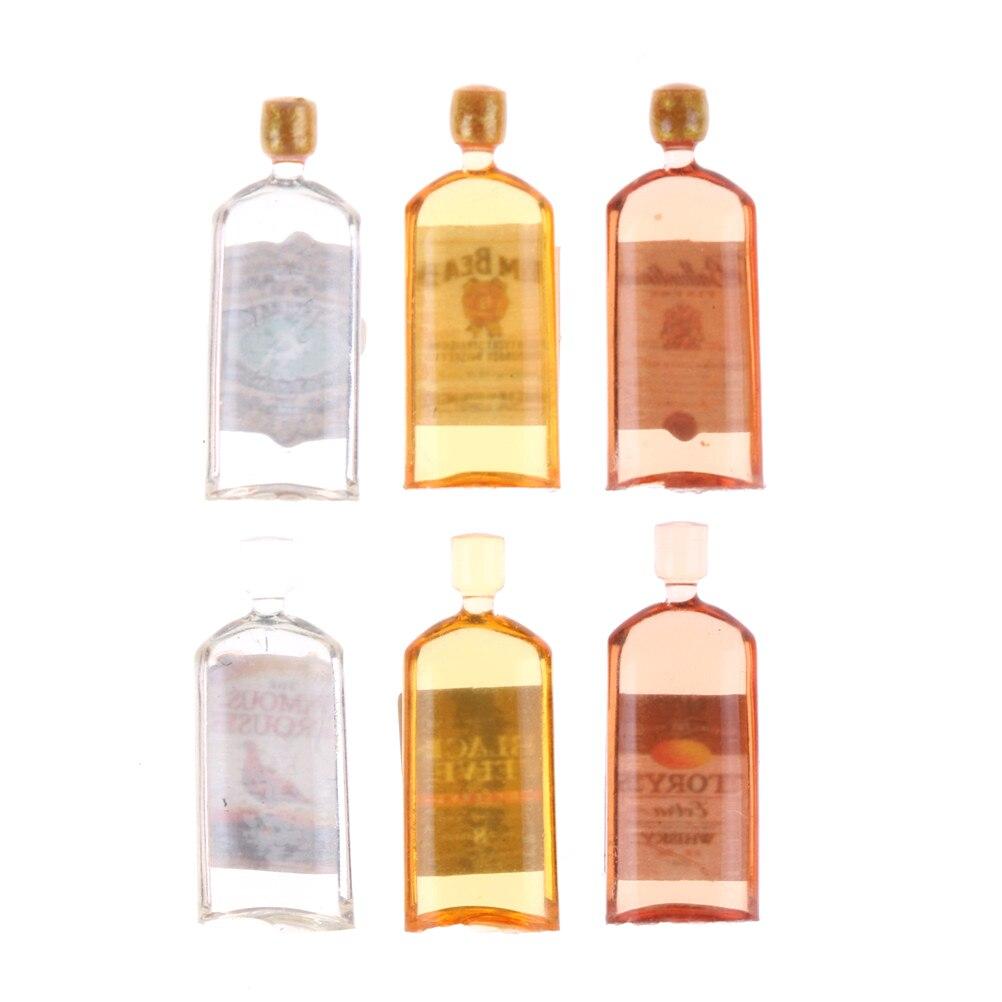 Casa de muñecas cocina casa de muñecas miniaturas 112 accesorios 6 * mini whisky miniatura casa de muñecas muebles botellas de vino