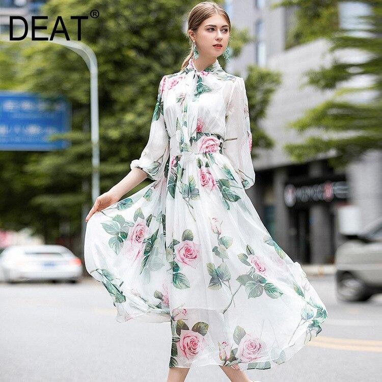 DEAT 2020 box collar lantern printed organza high waist mid calf length pullover dress summer fashion vestido WM89700L