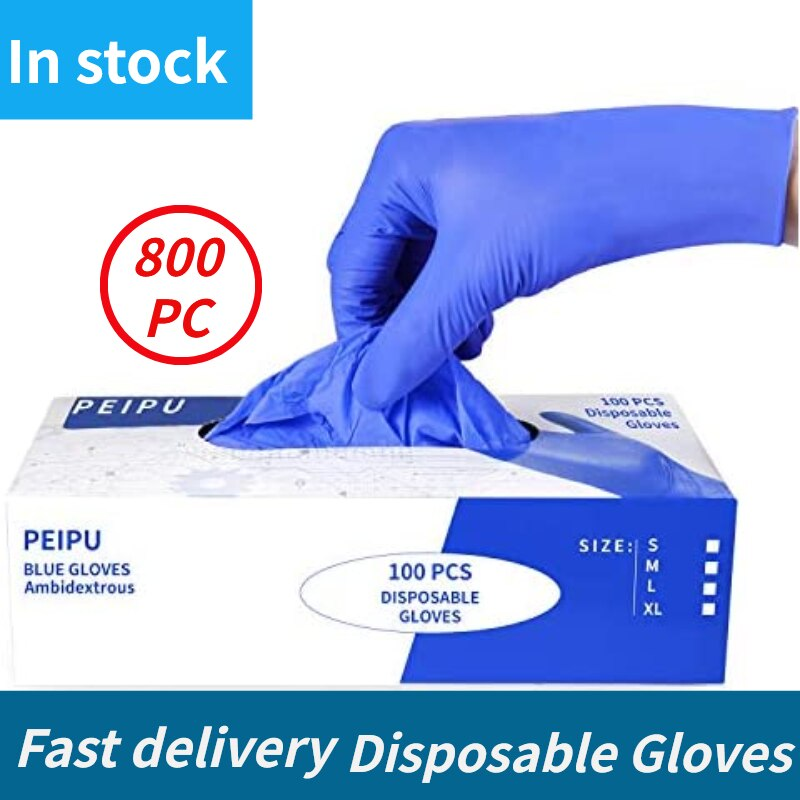 100/800PC Nitrile Disposable Gloves Waterproof Powder Free Latex Gloves For Household Kitchen Labora