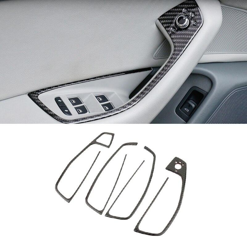 Para Audi A6 C7 2012 2013 2014 2015 2016 fibra de carbono manija de la puerta del coche apoyabrazos Panel ventana elevación cubierta de botón de interruptor embellecedor