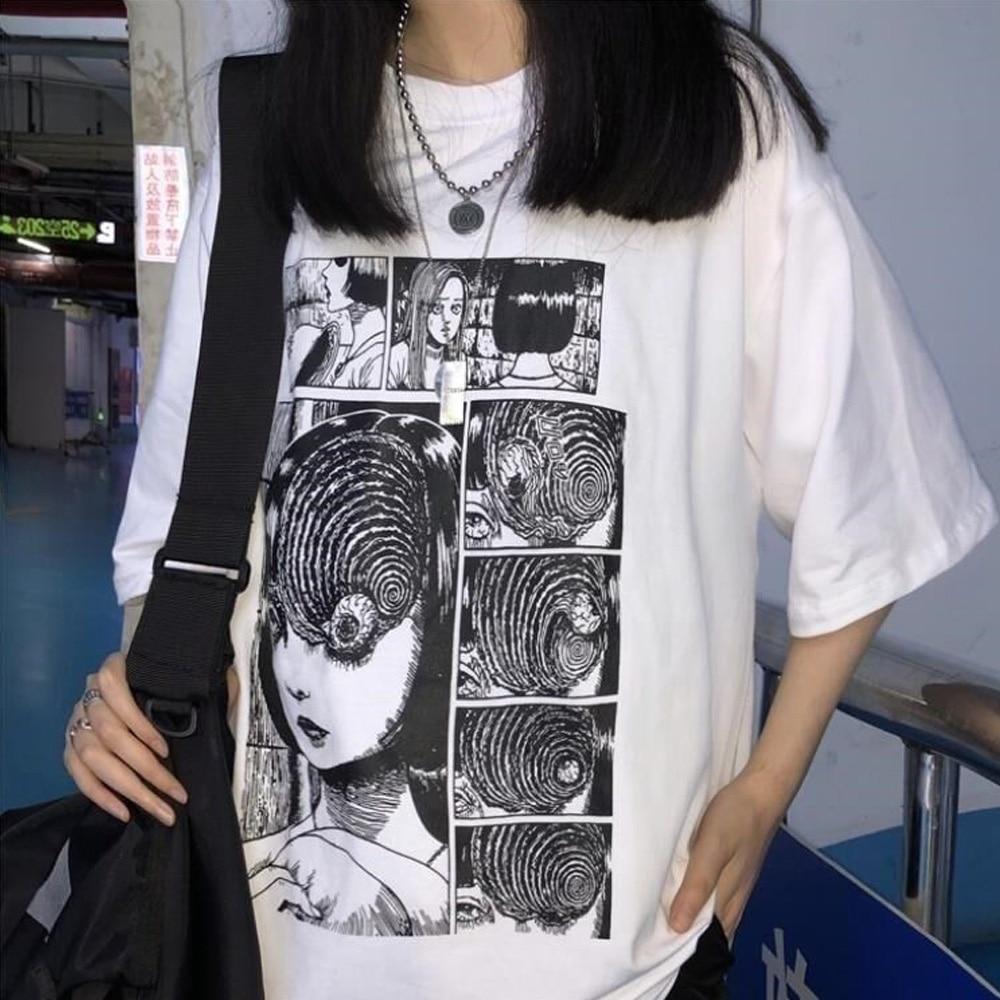 Camisetas blancas Junji Ito Horror Manga Uzumaki, camisetas de moda para mujeres, camisetas de Anime estéticas Grunge, camisetas estilo Harajuku