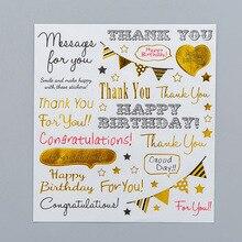 Joyeux anniversaire autocollants Kawaii mignon Scrapbook papeterie Journal coeur étoile Journal voyage petit ensemble dautocollants merci