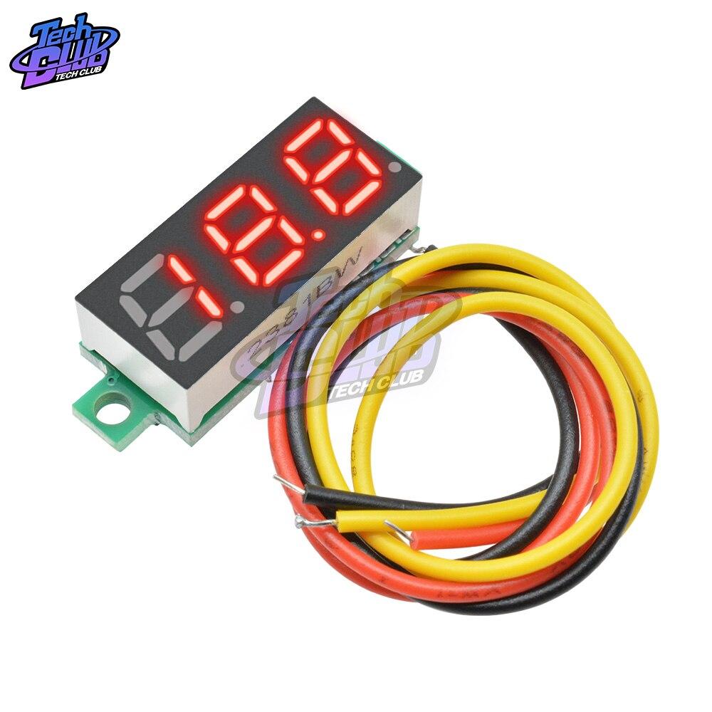 DC 0-100V 3 alambre Mini medidor de voltaje voltímetro 0,28 pulgadas pantalla LED Panel Digital voltímetro Detector herramientas de control