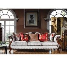 Rahat avrupa tarzı lüks kumaş katı ahşap kesit koltuk takımı oturma odası mobilya Divano seti mobili soggiorno GH87