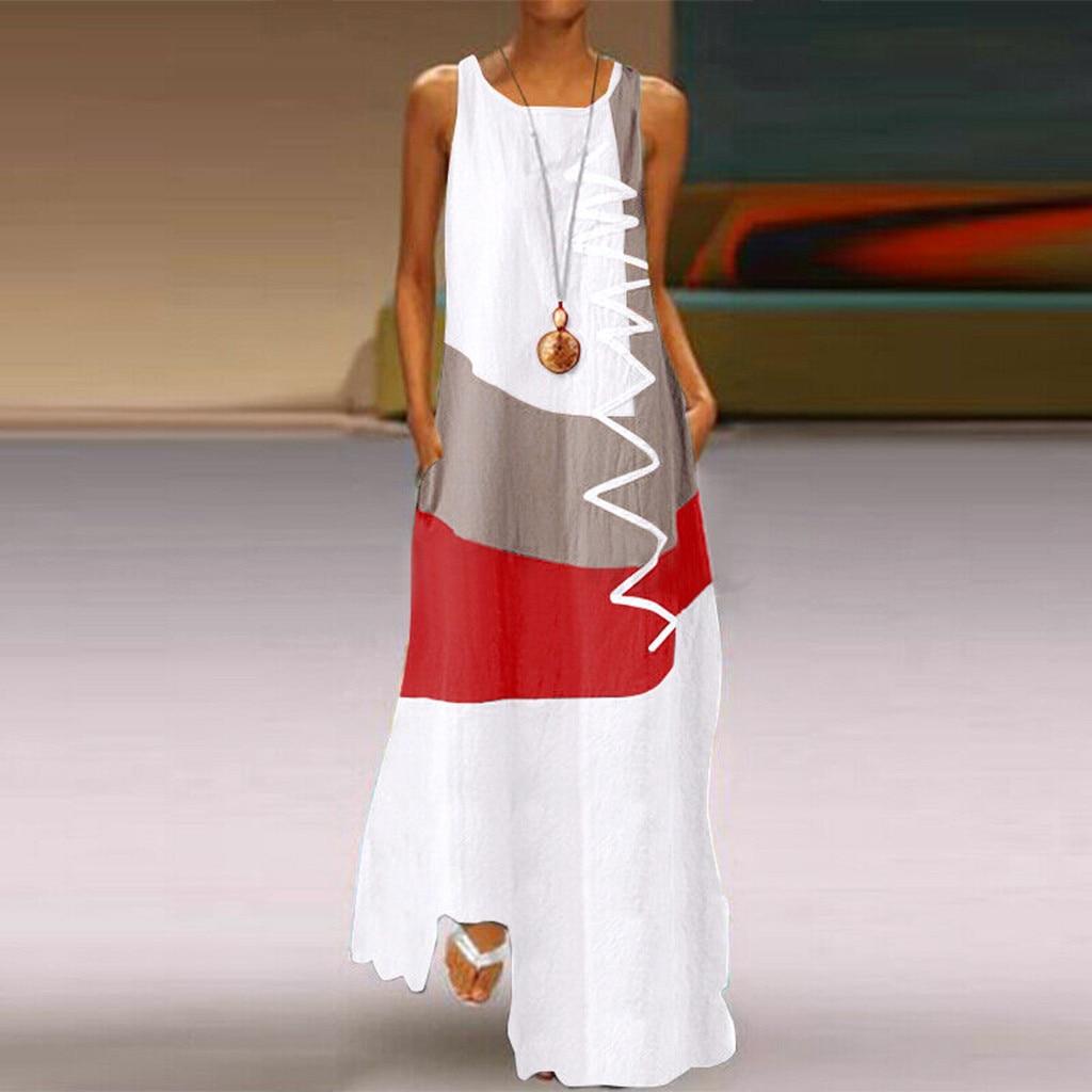 JAYCOSIN Round Neck Sling Fashion Women Dresses Large Size Sleeveless Color Matching Printing Dress
