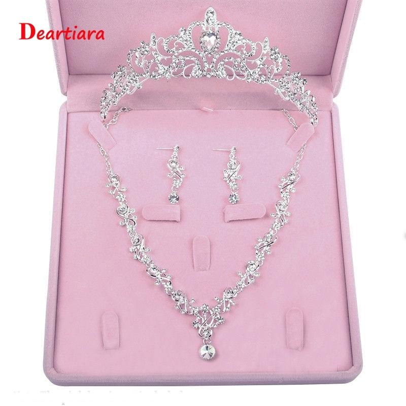 Collar de Tiara de princesa de cristal, pendientes, juego de joyería de boda