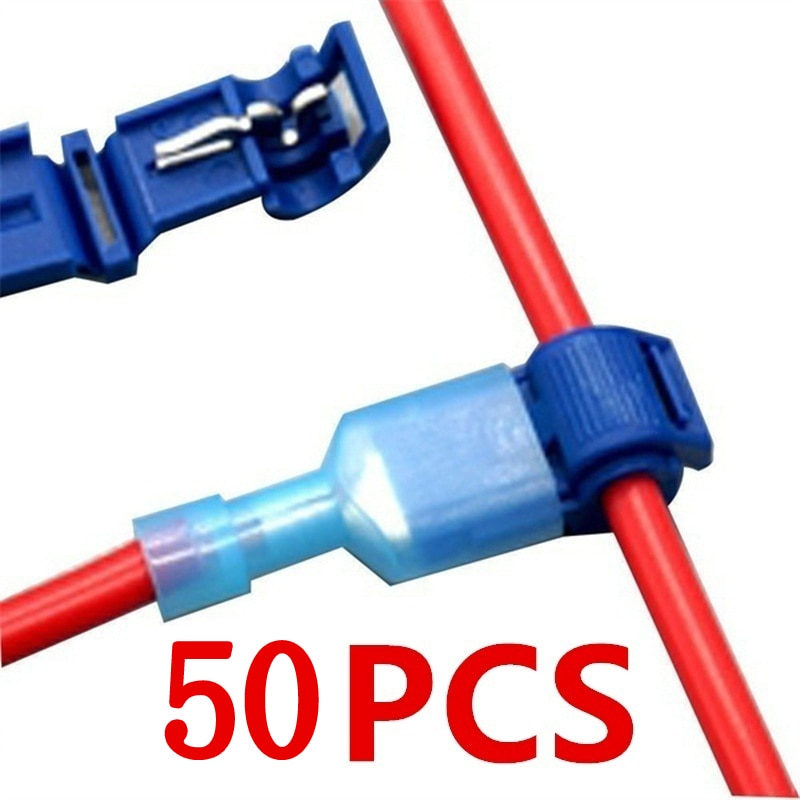 lot100pc self locking electrical cable connector quick splice lock wire terminal 2 pins electrical cable connectors quick splice 50Pcs(25set) Quick Electrical Cable Connectors Snap Splice Lock Wire Terminal Crimp Wire Connector Waterproof Electric Connector