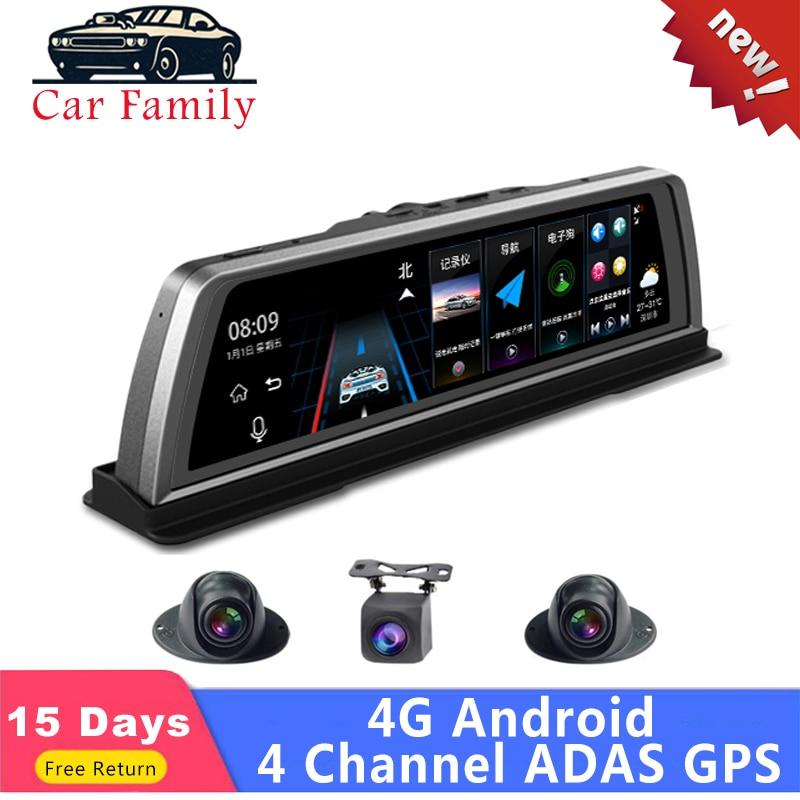 """Família do carro novo 10 """"carro dvr dashcam 4g center console espelho 4 canais adas android gps wifi fhd 1080 p lente traseira gravador de vídeo"""