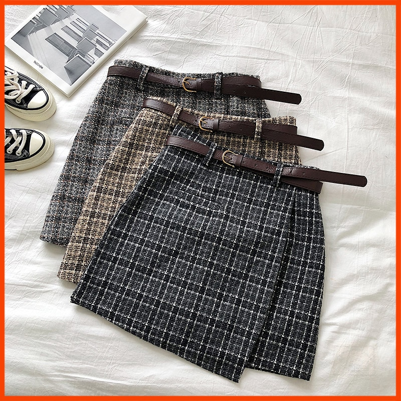 OLOME A-line Mini Skirt Vintage Casual Women Plaid Skirt Chic Sashes Korean Irregular Lady Skirt Female Autumn Sweet High Waist
