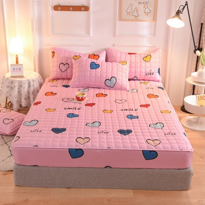 Grueso acolchado con apliques suaves sábana de cama cubierta de colchón sábanas elásticas cómodas fundas de almohada impresión individual completo Queen King