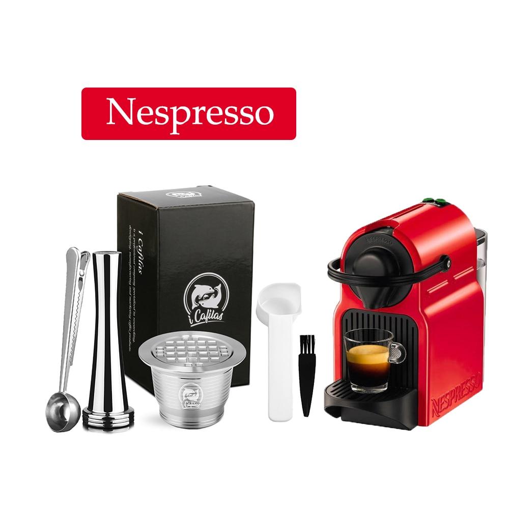 Filtro de café reutilizable Icafilas para cápsula Nespresso, cápsula de café rellenable de acero inoxidable, cafetera, taza de cocina, Tamper