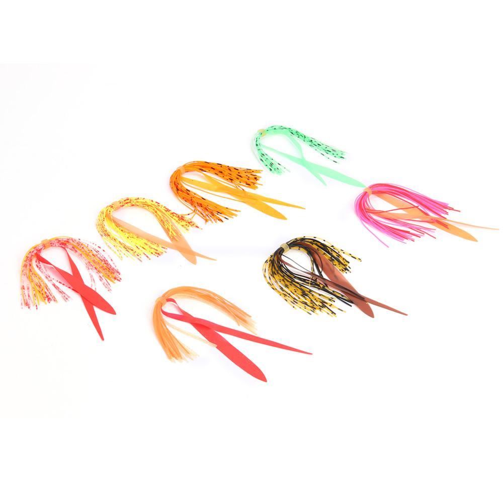 7 pçs prático pesca pacotes multicolorido inofensivos saias de borracha silicone gabarito isca pesca equipamento acessórios