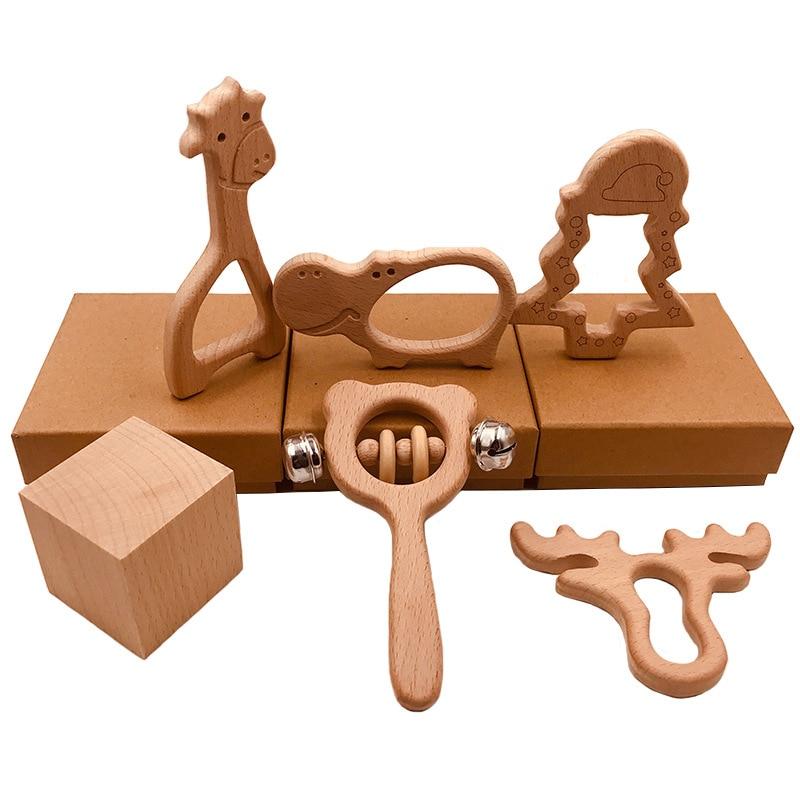 Nouveau bébé jouets hêtre bois ours main dentition anneau en bois bébé hochets jouer salle de sport Montessori poussette jouets éducatifs jouets