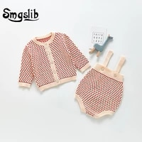 smgslib 2021 infant baby knitting rompers baby girls long sleeve suit spring autumn child clothes coats playsuits outfits