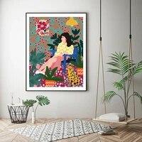 Peinture sur toile  pour fille en attente  decoration de maison moderne  Style abstrait  affiche murale
