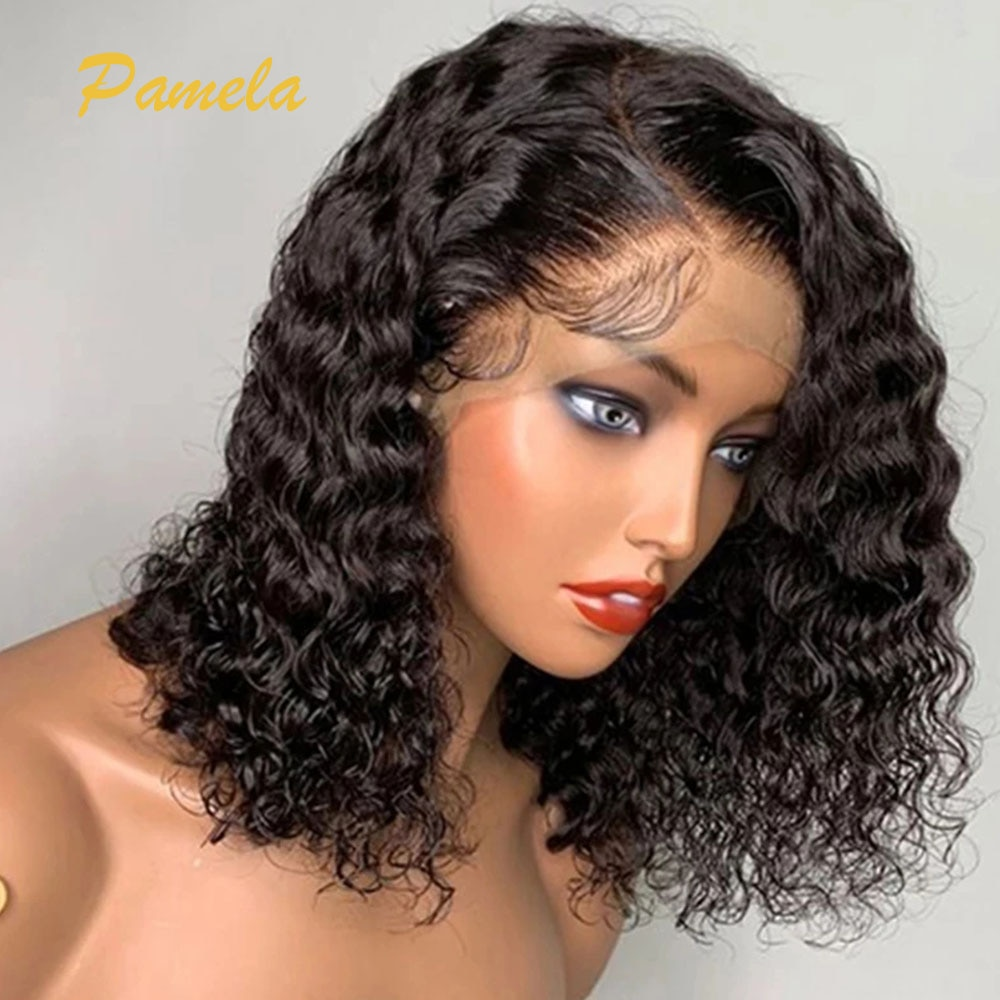 Short Curly Bob Summer human hair wig 4x4 Lace Closure Wig Pre Plucked With Baby Hair For Black Women 180% Remy Lace Front Wig