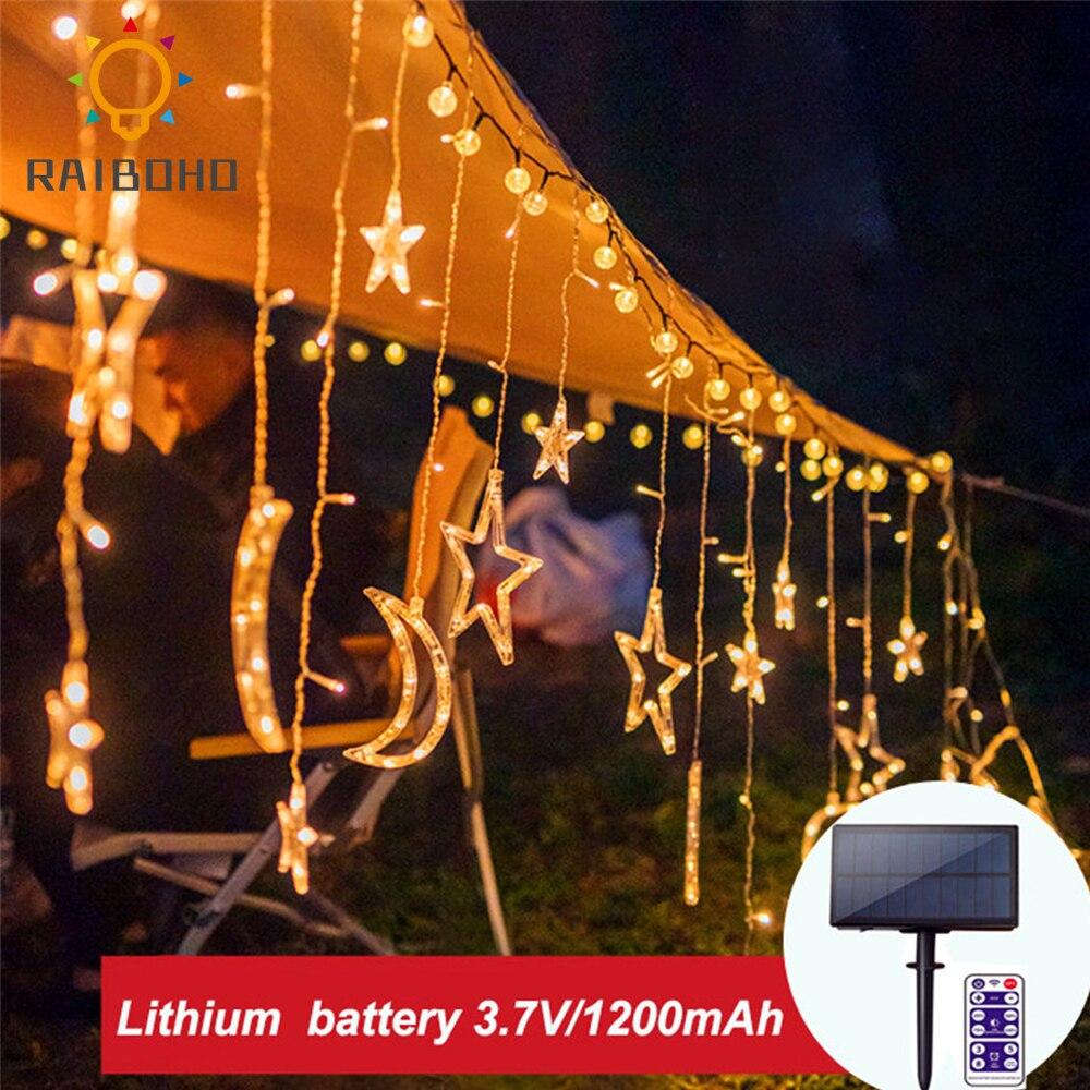 ستارة شمسية مقاومة للماء مع جهاز تحكم عن بعد ، ستارة قمر ونجمة ، إضاءة خارجية ، عطلة ، عيد الميلاد ، الحديقة