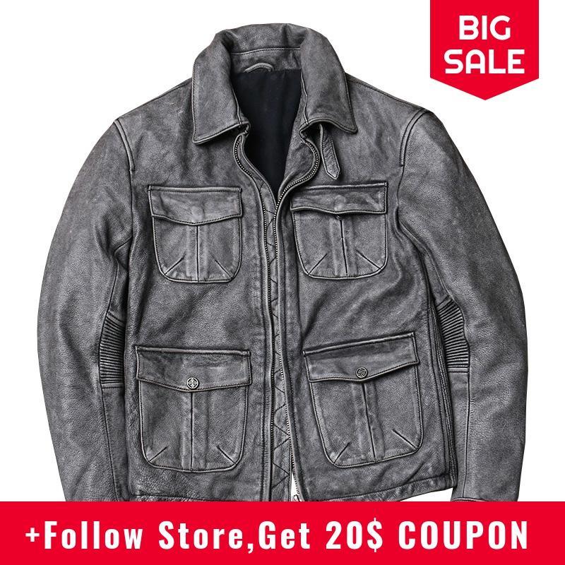 ¡Novedad de 2020! Chaqueta de cuero M65 de estilo Vintage gris para hombre, chaqueta de cuero de talla grande 5XL de piel auténtica de vaca de primavera, abrigo de cuero informal ajustado, envío gratis