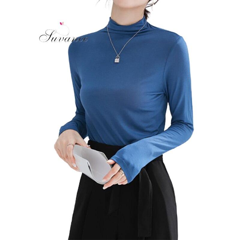 Suvance otoño moda 5 Color sólido tamaño s-l mujeres Delgado básico largo camisetas Jl-xy0441