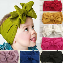 Novo estilo do miúdo menina bebê bandana sólida criança laço arco flor faixa de cabelo acessórios headwear