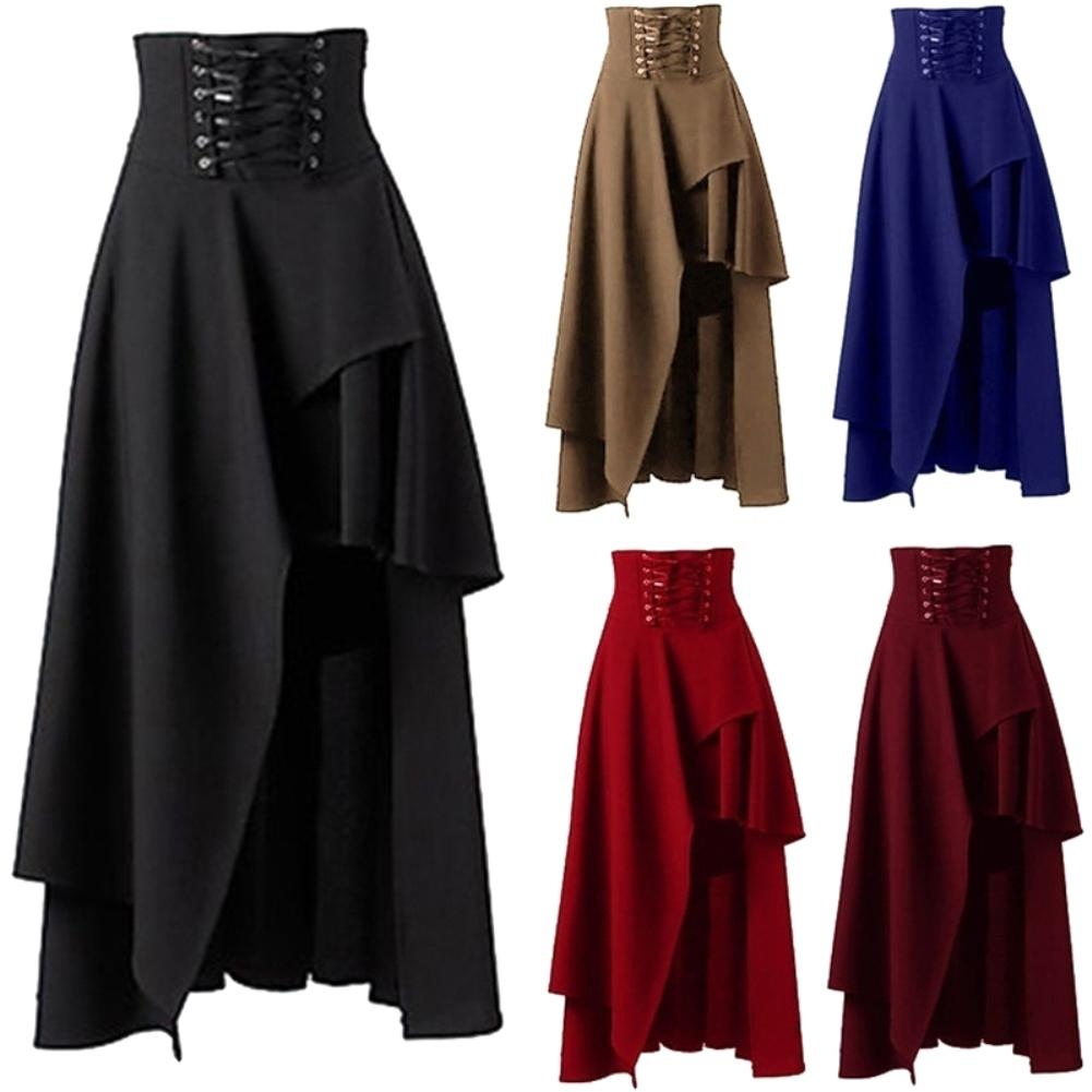 Лидер продаж! Стимпанк винтажная Женская Однотонная юбка на шнуровке с высокой талией Асимметричная Макси юбка оптом Прямая поставка