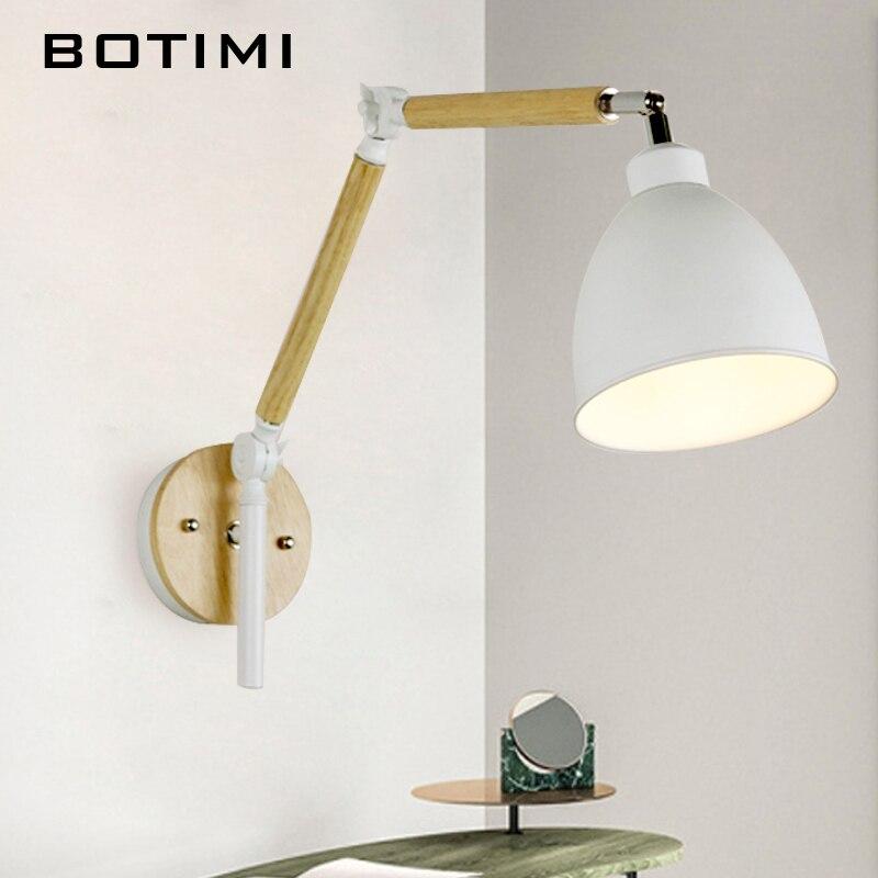 Botimi nordic conduziu a lâmpada de parede de madeira arandela ajustável luminaira metal abajur cabeceira luz leitura branca luminária