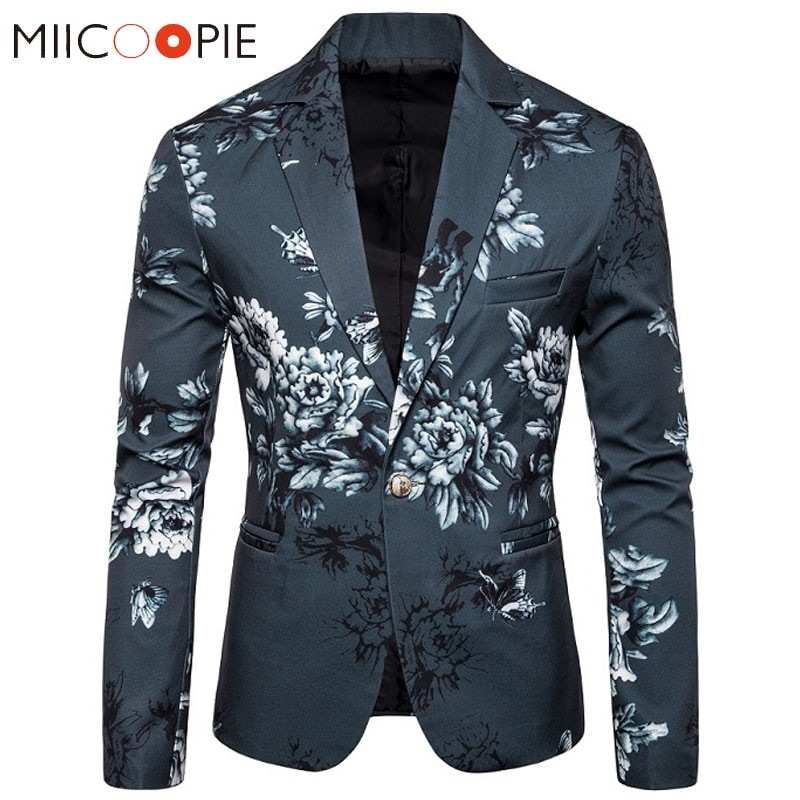 Floral Printed Mens Suit Jacket Blazers Casual Single Button Blazer Hombre 2019 Luxury Flower Designs Slim Fit Blaizer Masculino